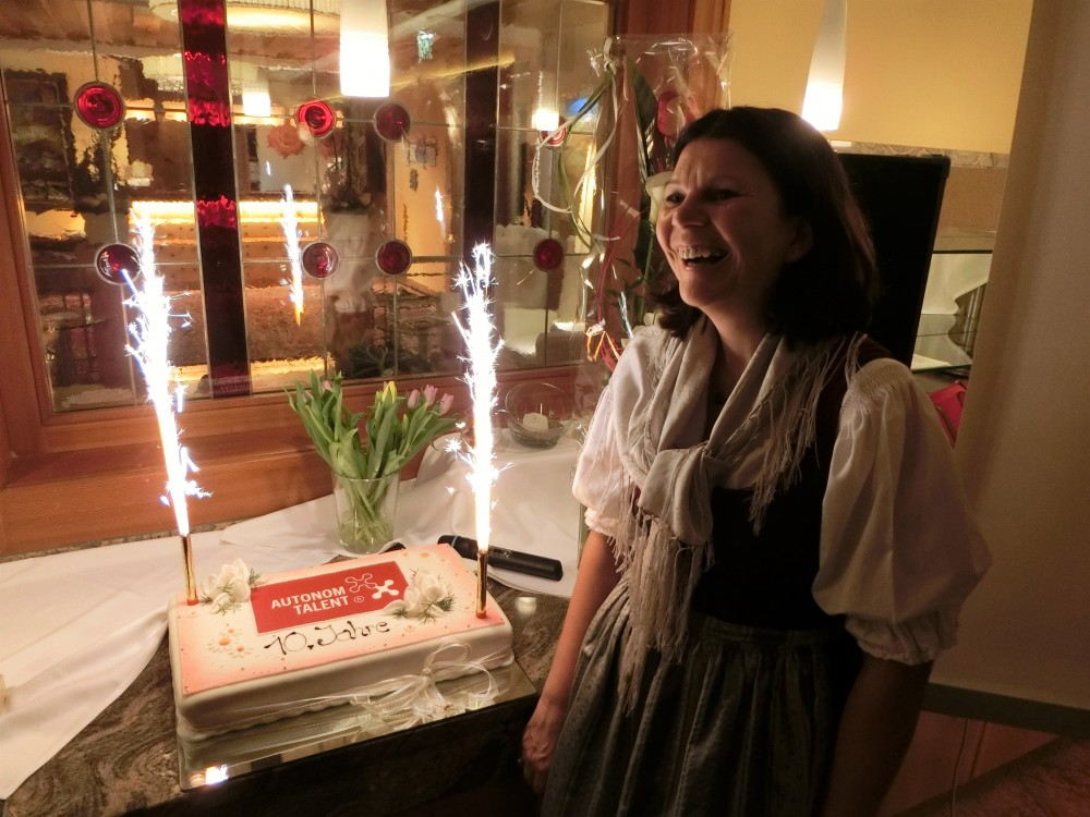Cutting the giant birthday cake